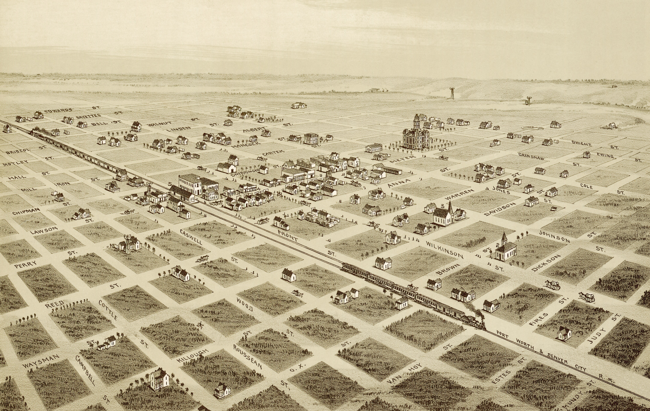 Childress Texas Map Vintage map shows bird's eye view of Childress, Texas in 1890   KNOWOL