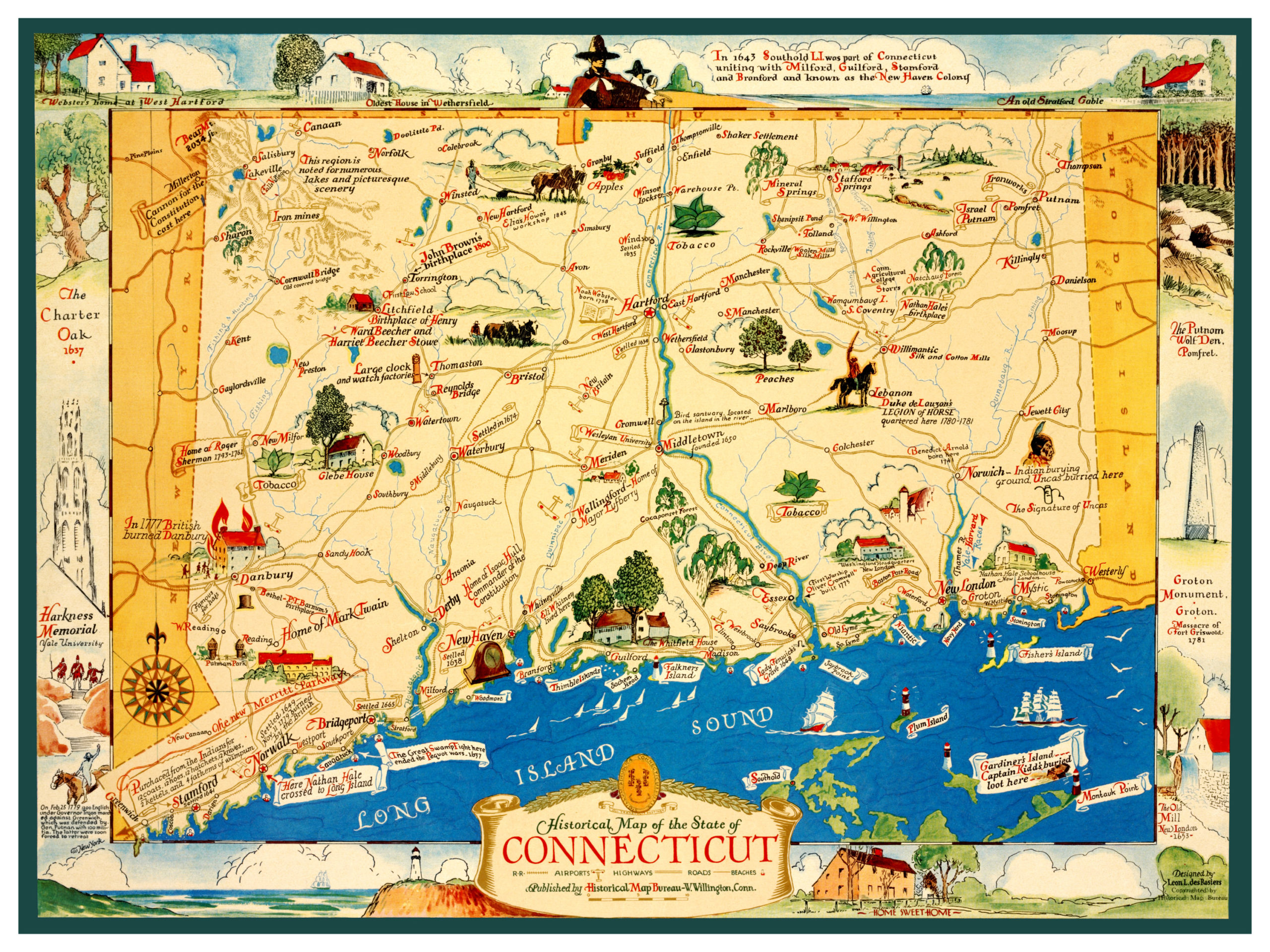Vintage map featuring historical Connecticut facts and trivia - KNOWOL