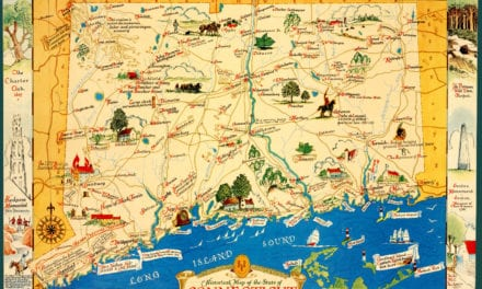 Vintage map featuring historical Connecticut facts and trivia