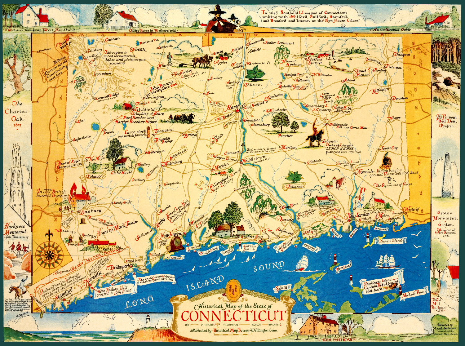Vintage map featuring historical Connecticut facts and ...