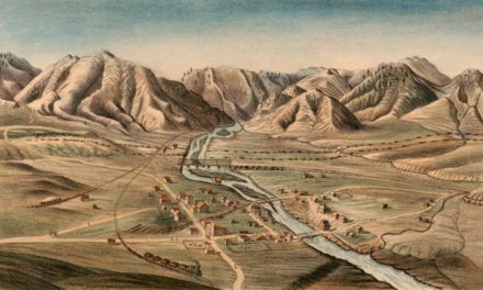 Bird's eye view of Golden City, Colorado in 1870