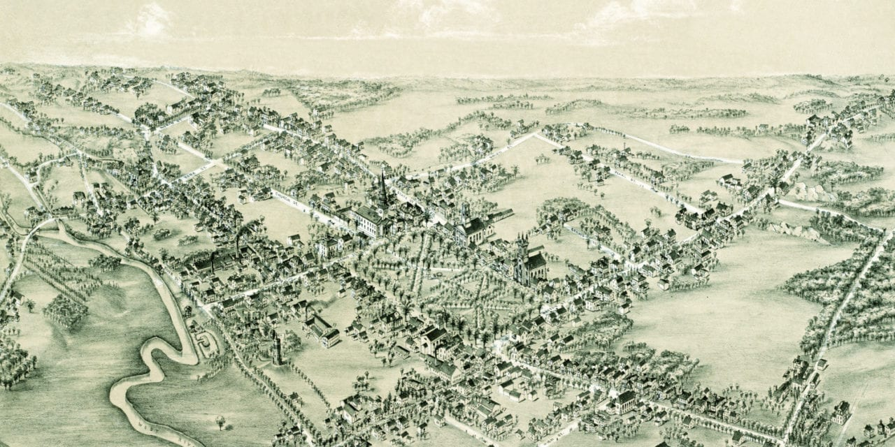 Beautifully restored map of Guilford, Connecticut from 1881