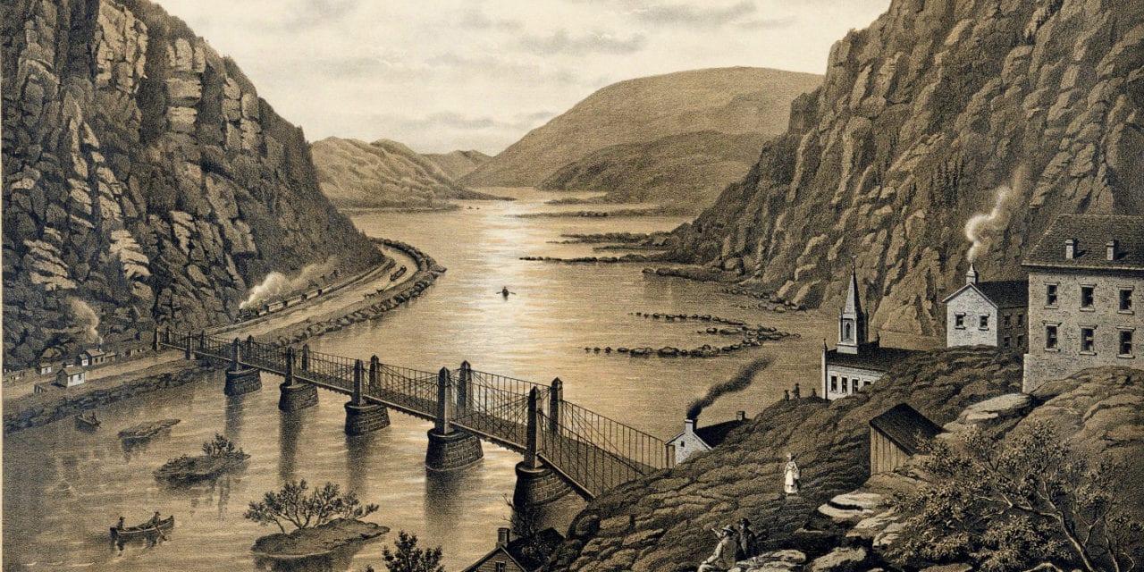Bird's eye view of Harper's Ferry, West Virginia in the 1880's