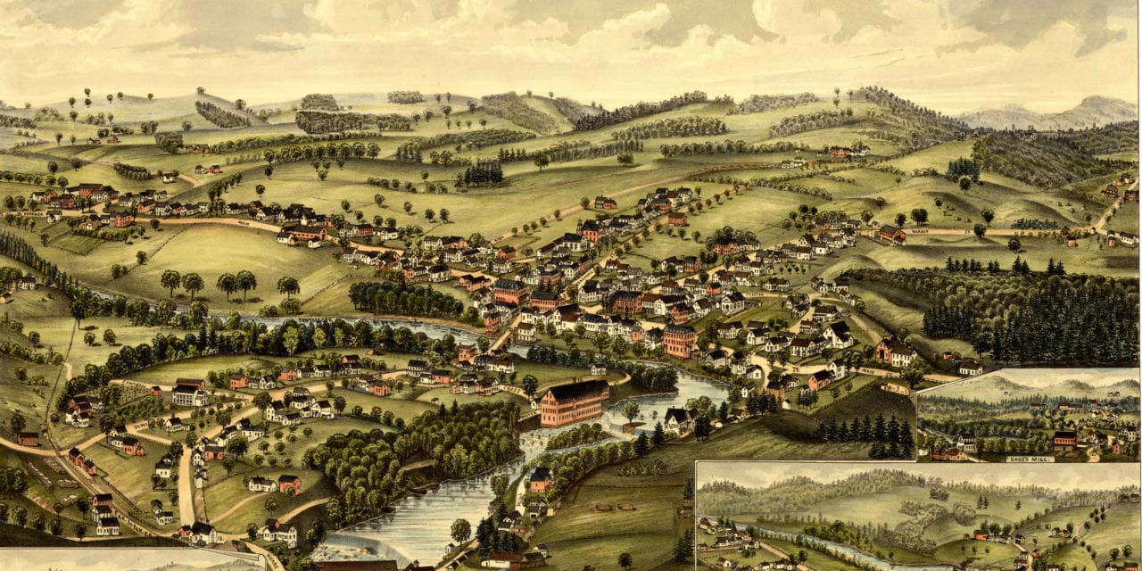 Beautiful old map of Henniker, New Hampshire from 1889