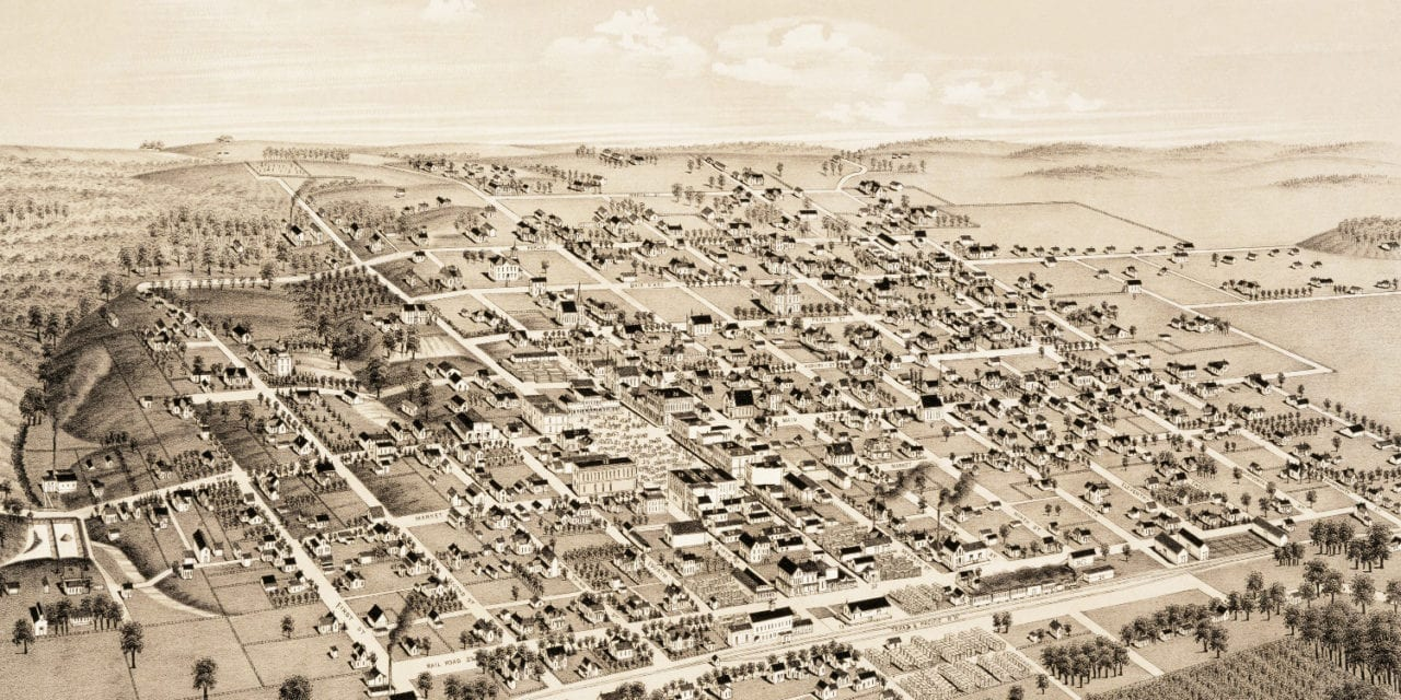 Historical map shows bird's eye view of Honey Grove, TX in 1886