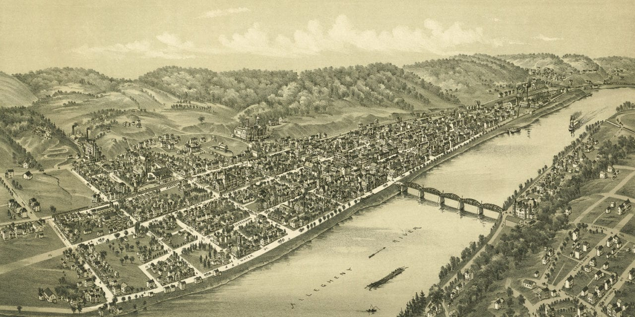 Beautifully restored map of Kittanning, PA from 1896