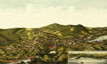 Beautiful bird's eye view of Milton, New Hampshire from 1888