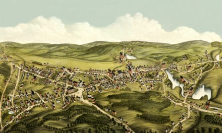 Beautifully restored map shows bird's eye view of Monson, MA in 1879