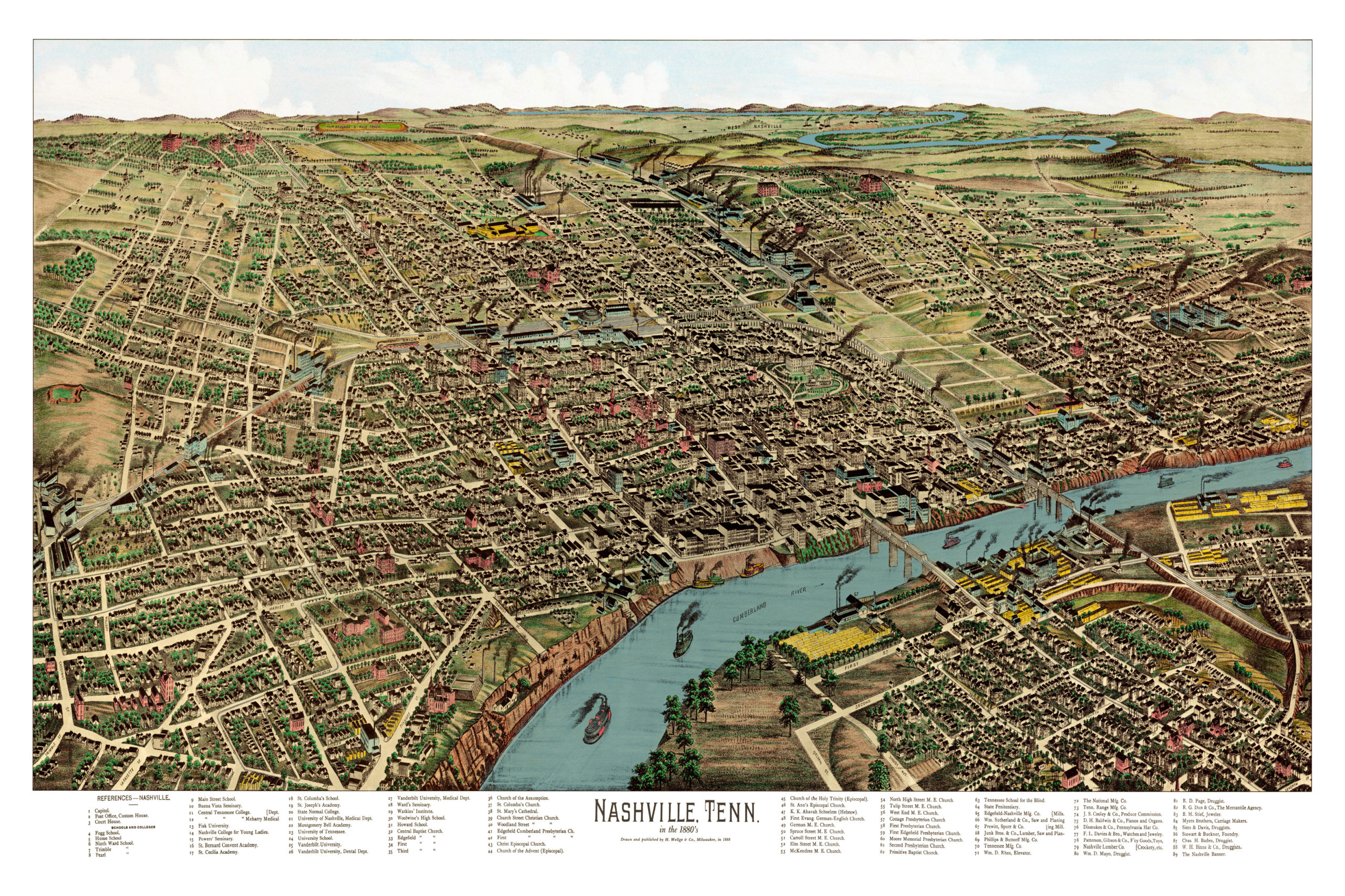 this vintage map will make an attractive addition to your home or office and can even be used to teach children the geography and history of nashville