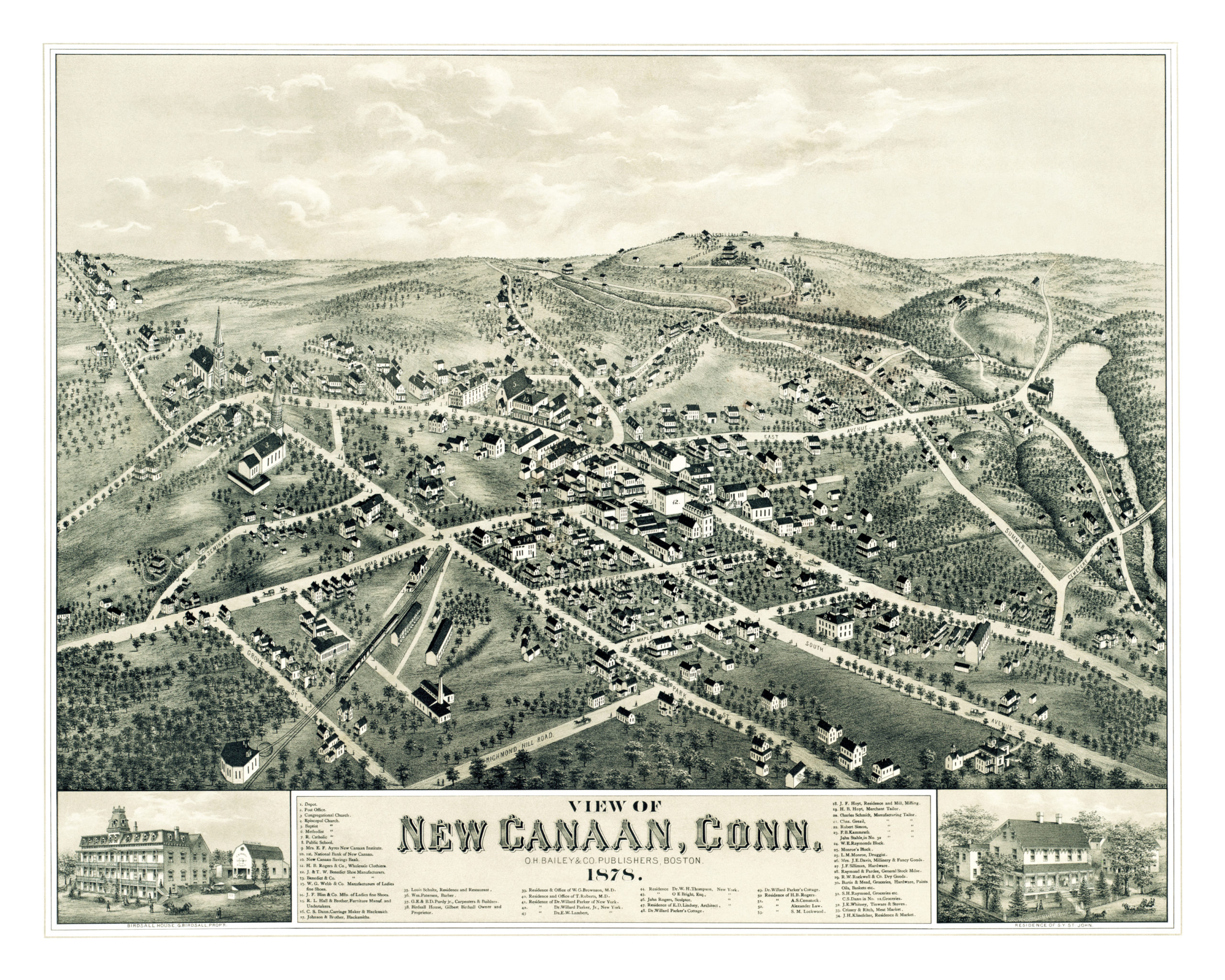 beautifully restored map of new canaan connecticut from 1878 knowol