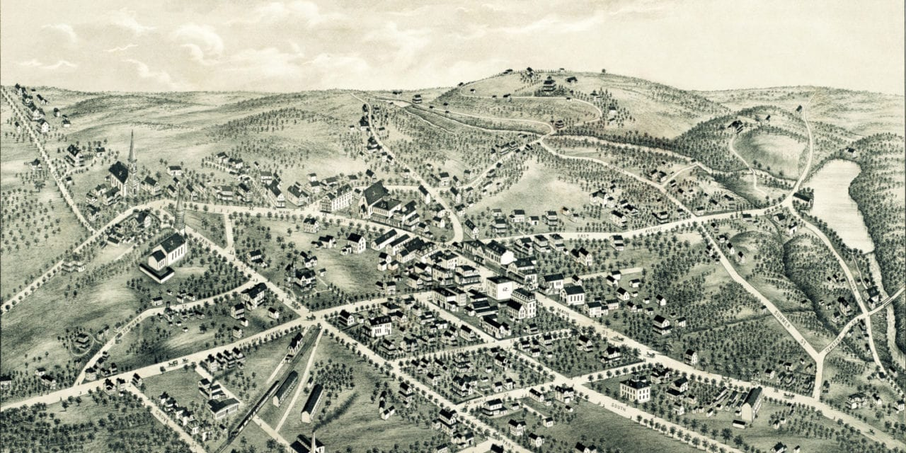 Beautifully restored map of New Canaan, Connecticut from 1878