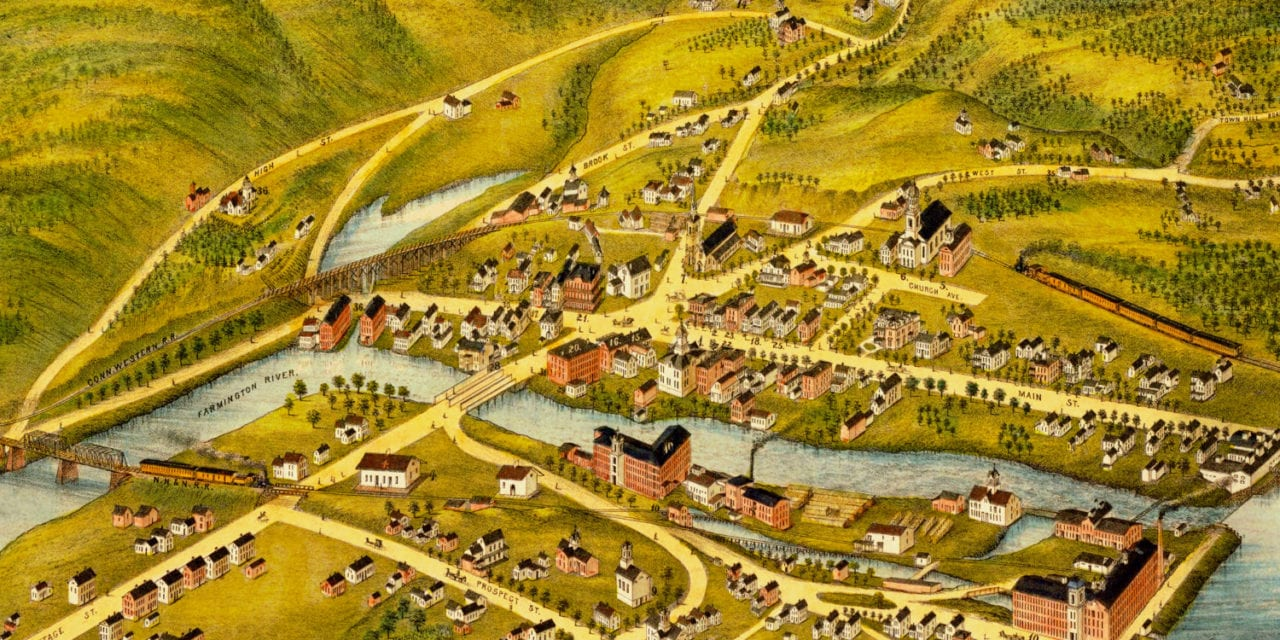 Beautifully restored old map of New Hartford, CT from 1878