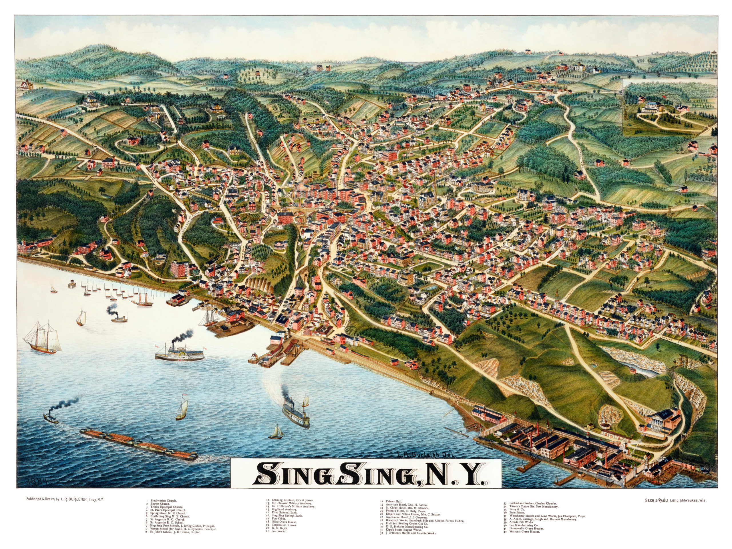 Beautifully restored map of ossining sing sing ny from 1884 knowol reproductions of the restored map are available here gumiabroncs Choice Image