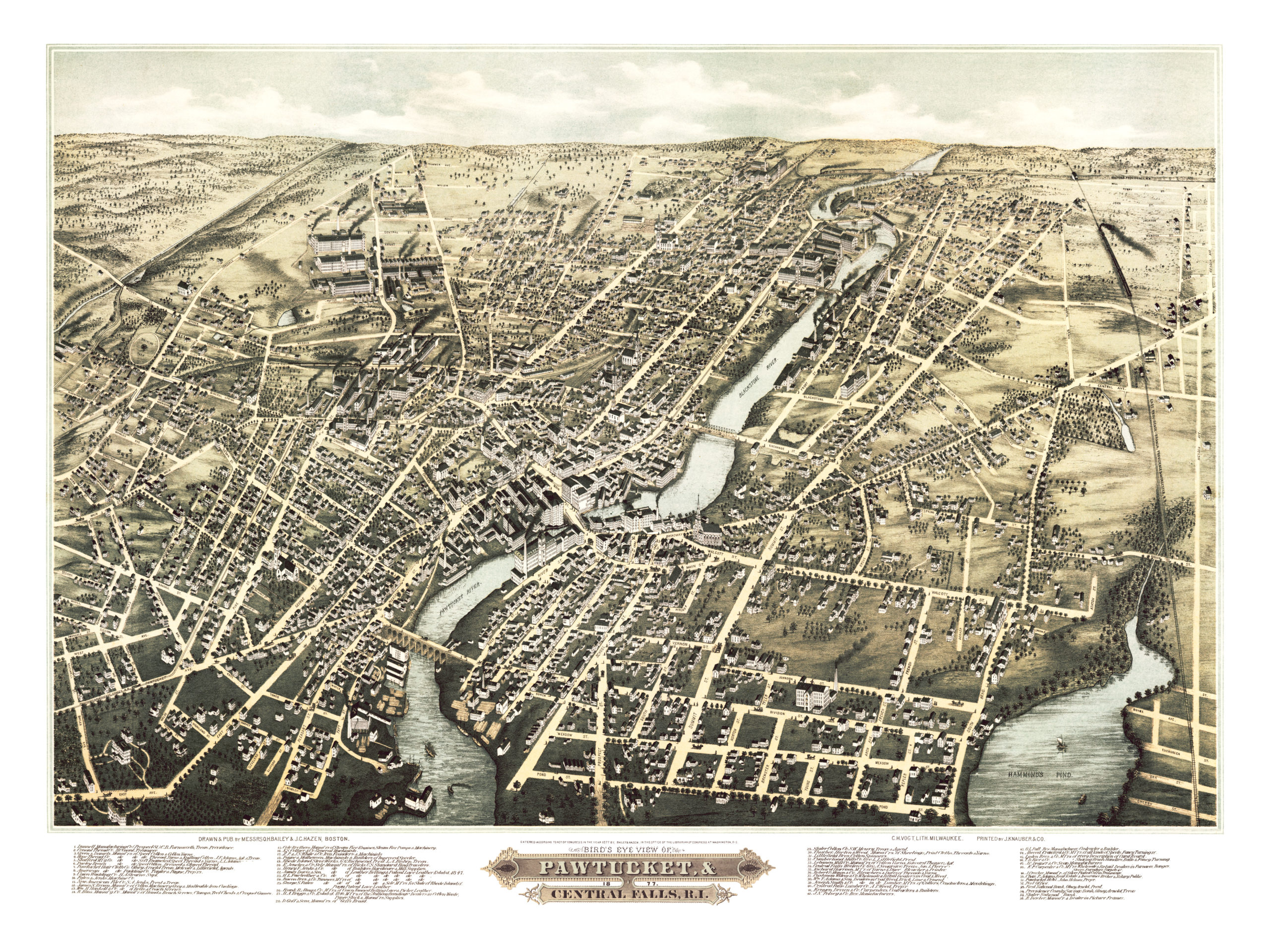 Birds eye view of Pawtucket and Central Falls RI in 1877 KNOWOL