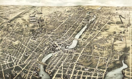 Bird's eye view of Pawtucket and Central Falls, RI in 1877