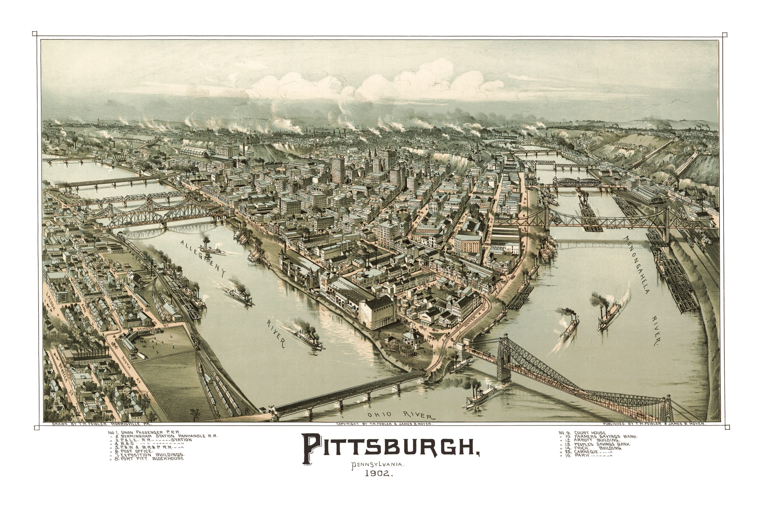 Beautifully restored map of Pittsburgh, PA from 1902 - KNOWOL