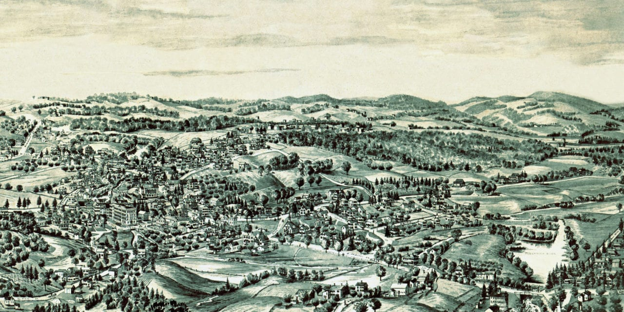 Beautiful bird's eye view of Terryville, Connecticut from 1894