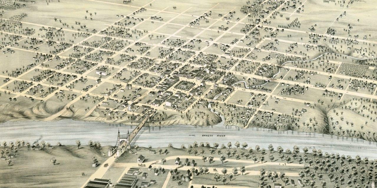 Beautifully detailed bird's eye view of Waco, Texas in 1873