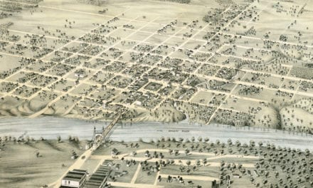 Beautifully detailed bird's eye view of Waco, Texas in 1873