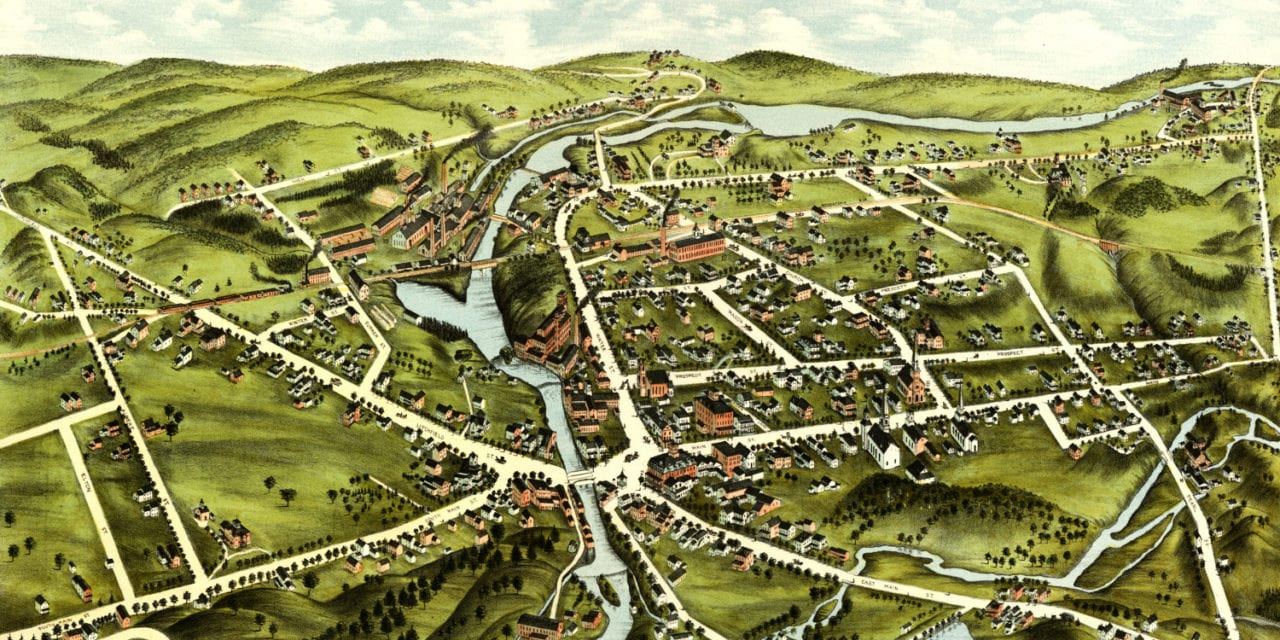 Beautiful bird's eye view of Wolcotville (Torrington), Connecticut from 1877