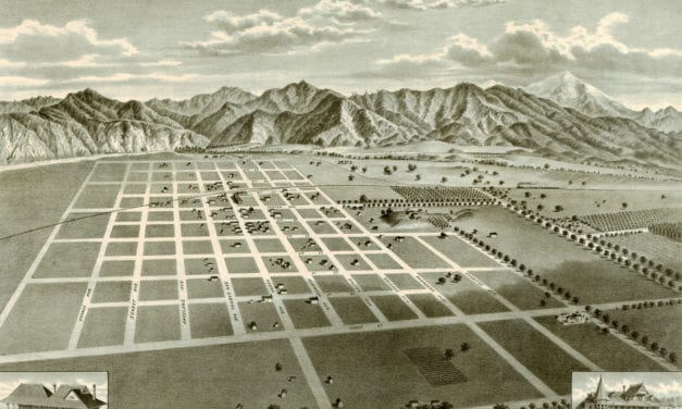 Bird's eye view of Azusa, Los Angeles County, CA in 1887
