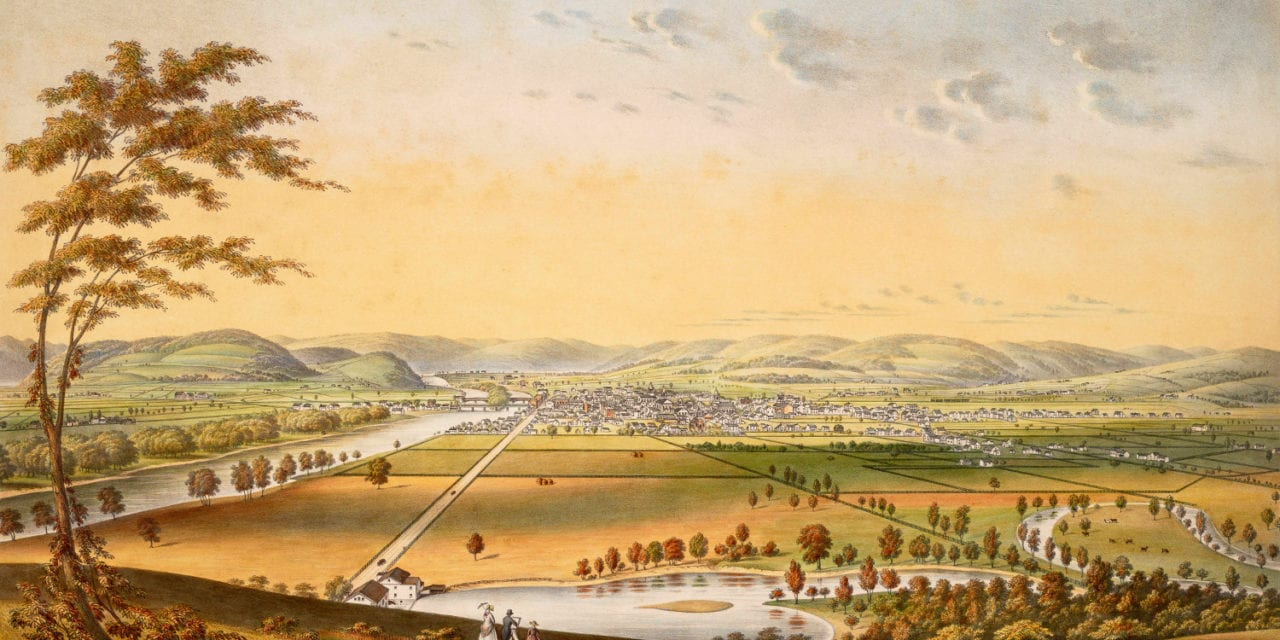 Beautiful hand colored view of Elmira, New York from 1840
