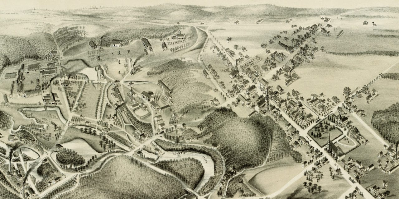 Old map showing a bird's eye view of Hazardville, CT in 1880