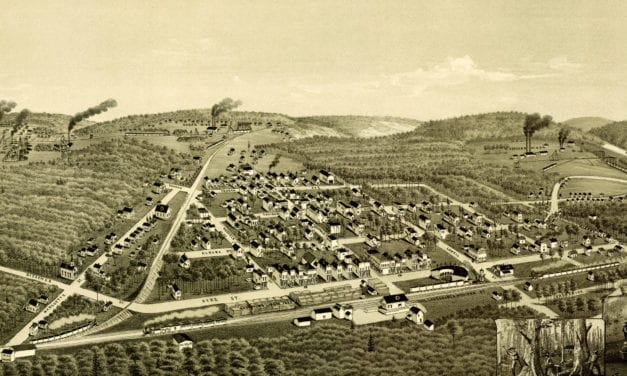 Historical bird's eye view map of Ironwood, Michigan from 1886