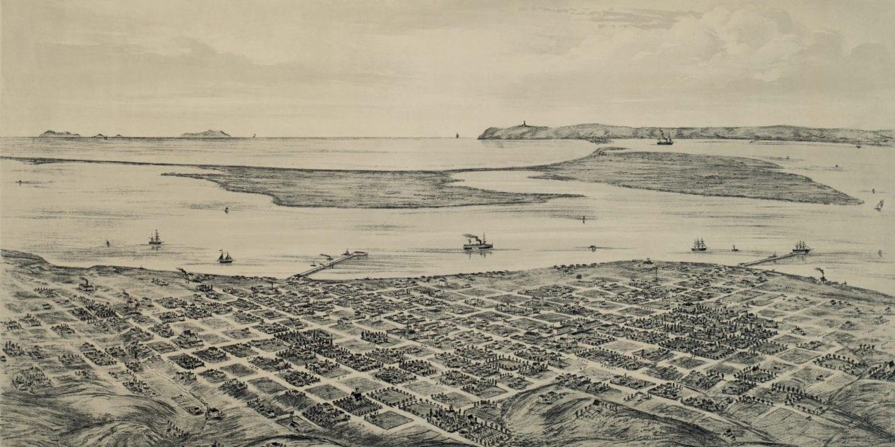 Beautiful bird's eye view of San Diego, California from 1876