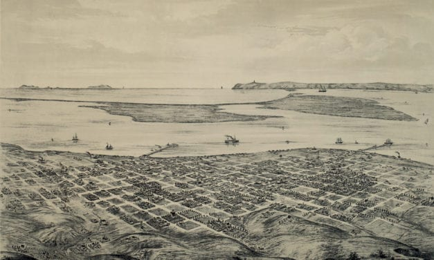 Beautiful bird's eye view of San Diego, California from 1876