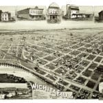 Beautiful bird's eye view of Wichita Falls, Texas in 1890