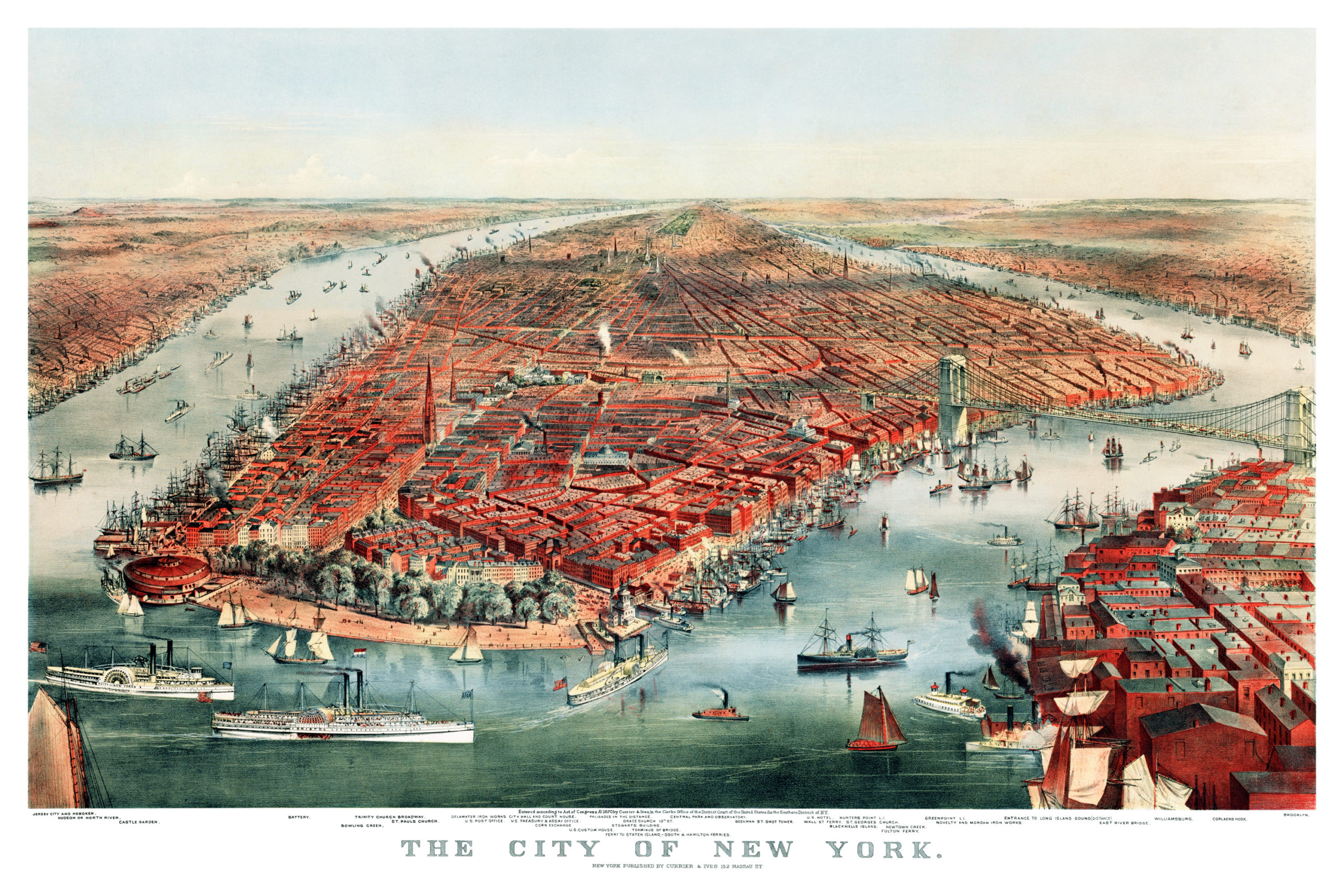 Detailed Map Of New York City.Beautifully Detailed Map Of New York City From 1870 Knowol
