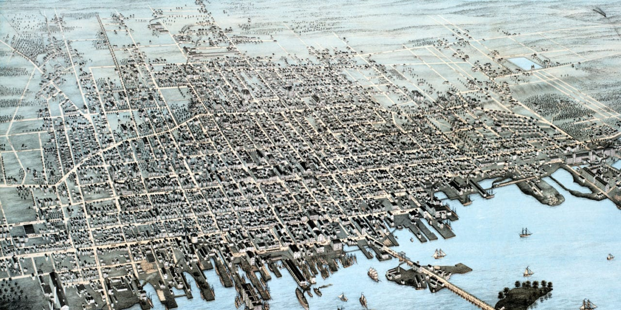 Stunning old map of New Bedford, MA from 1876