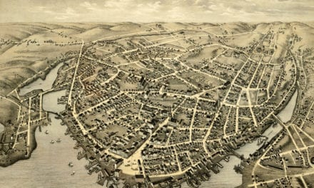 Beautifully restored map of New London, Connecticut from 1876