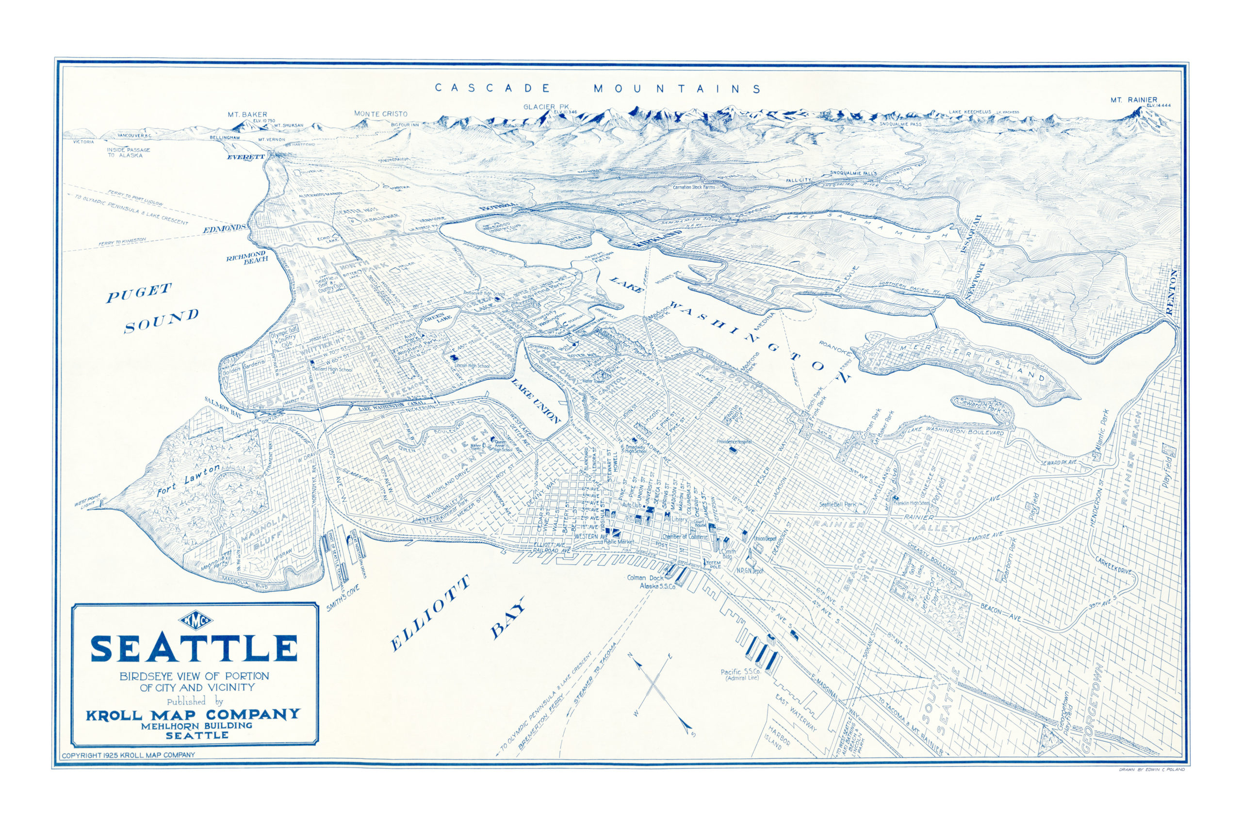 Seattle Map Wa.Beautifully Restored Map Of Seattle Washington From 1925 Knowol