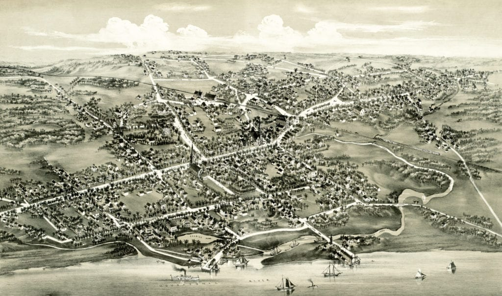 historic map of stratford  connecticut from 1882