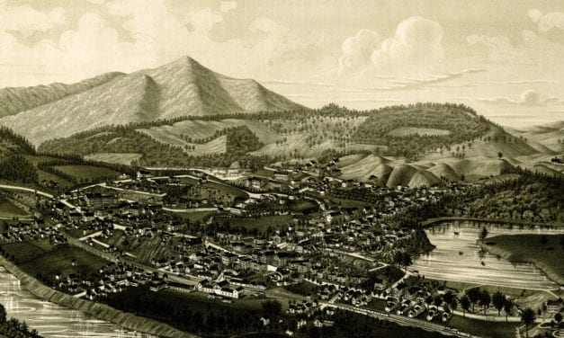 Historic map shows bird's eye view of Windsor, VT in 1886