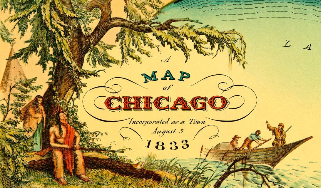 Historic map shows Chicago, Illinois as it looked in 1833
