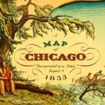 Historic old map shows Chicago, Illinois as it looked in 1833