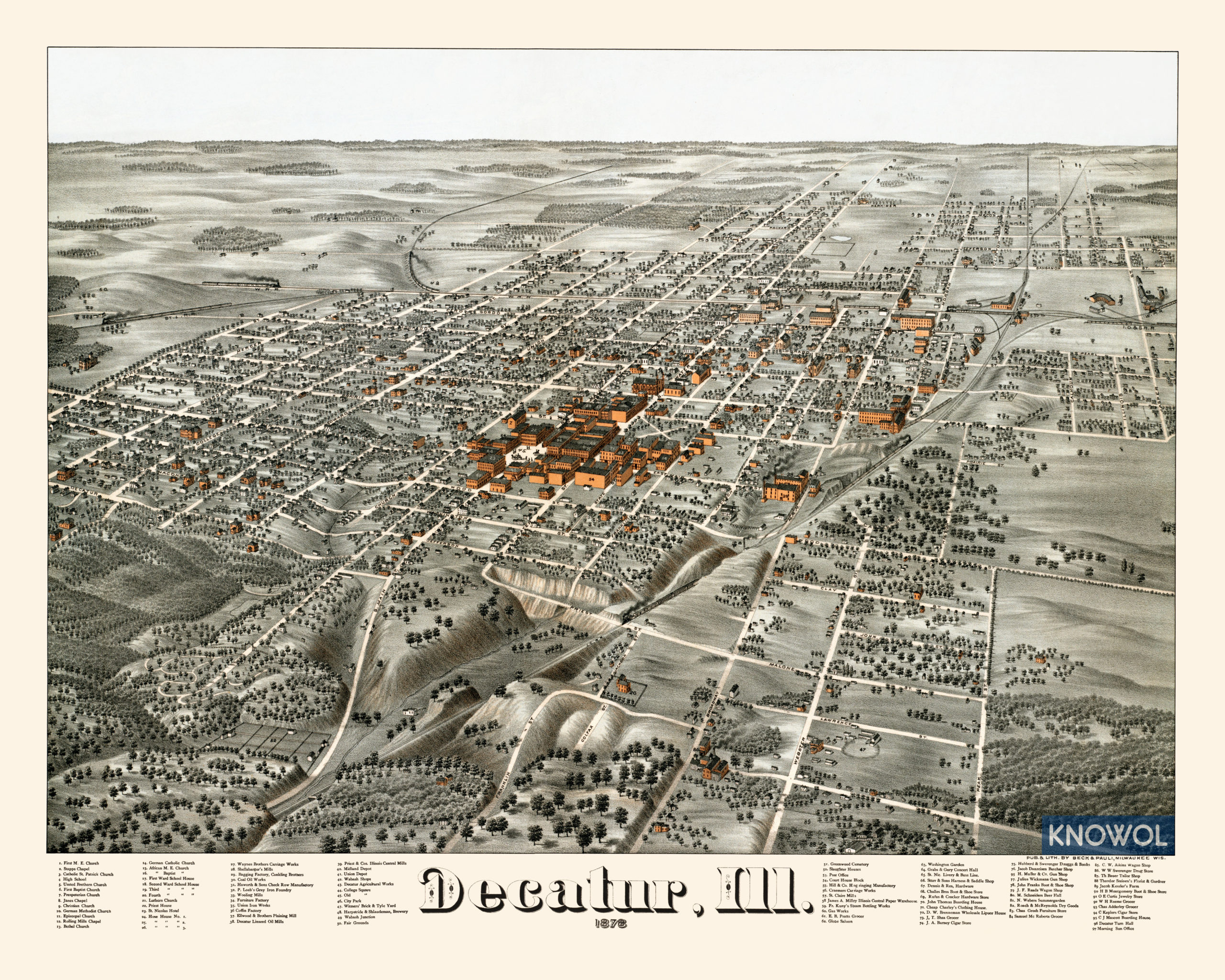 Decatur Illinois Map.Historic Map Shows Bird S Eye View Of Decatur Illinois In 1878