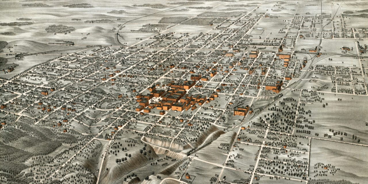 Beautifully restored map of Decatur, Illinois from 1878