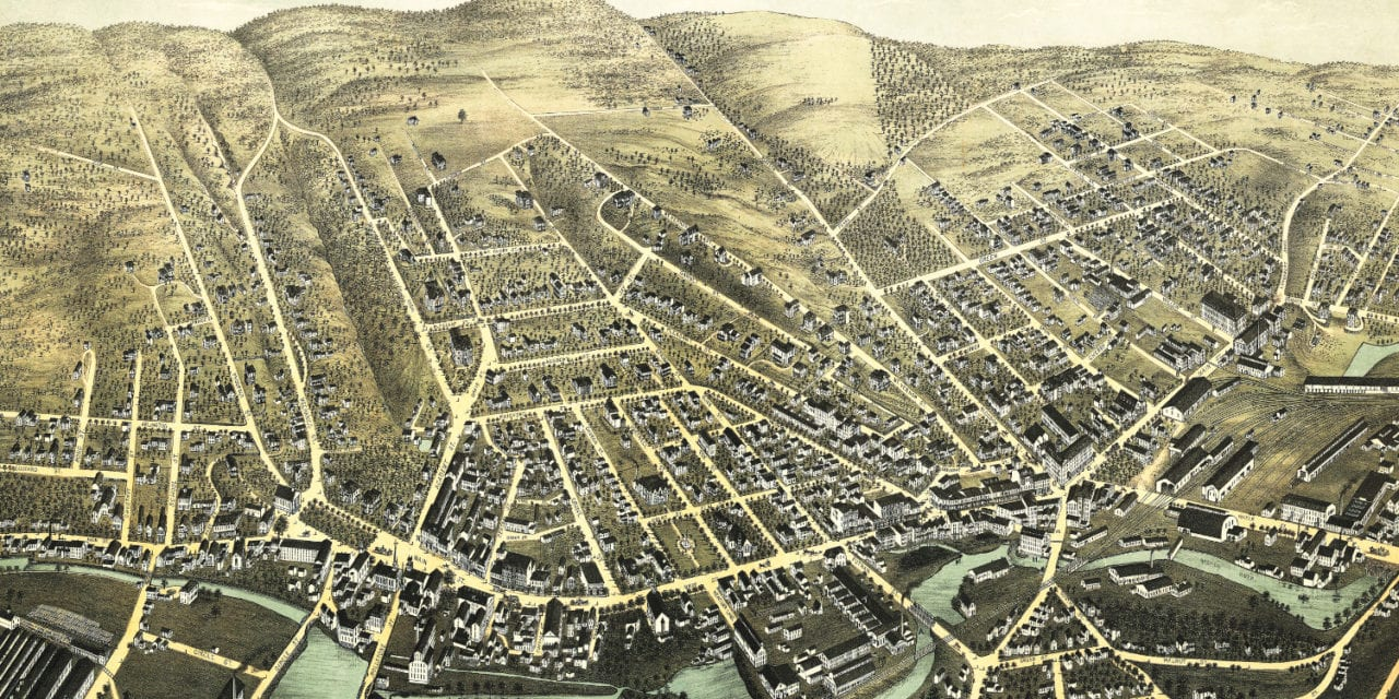Beautifully restored map of Fitchburg, MA from 1875