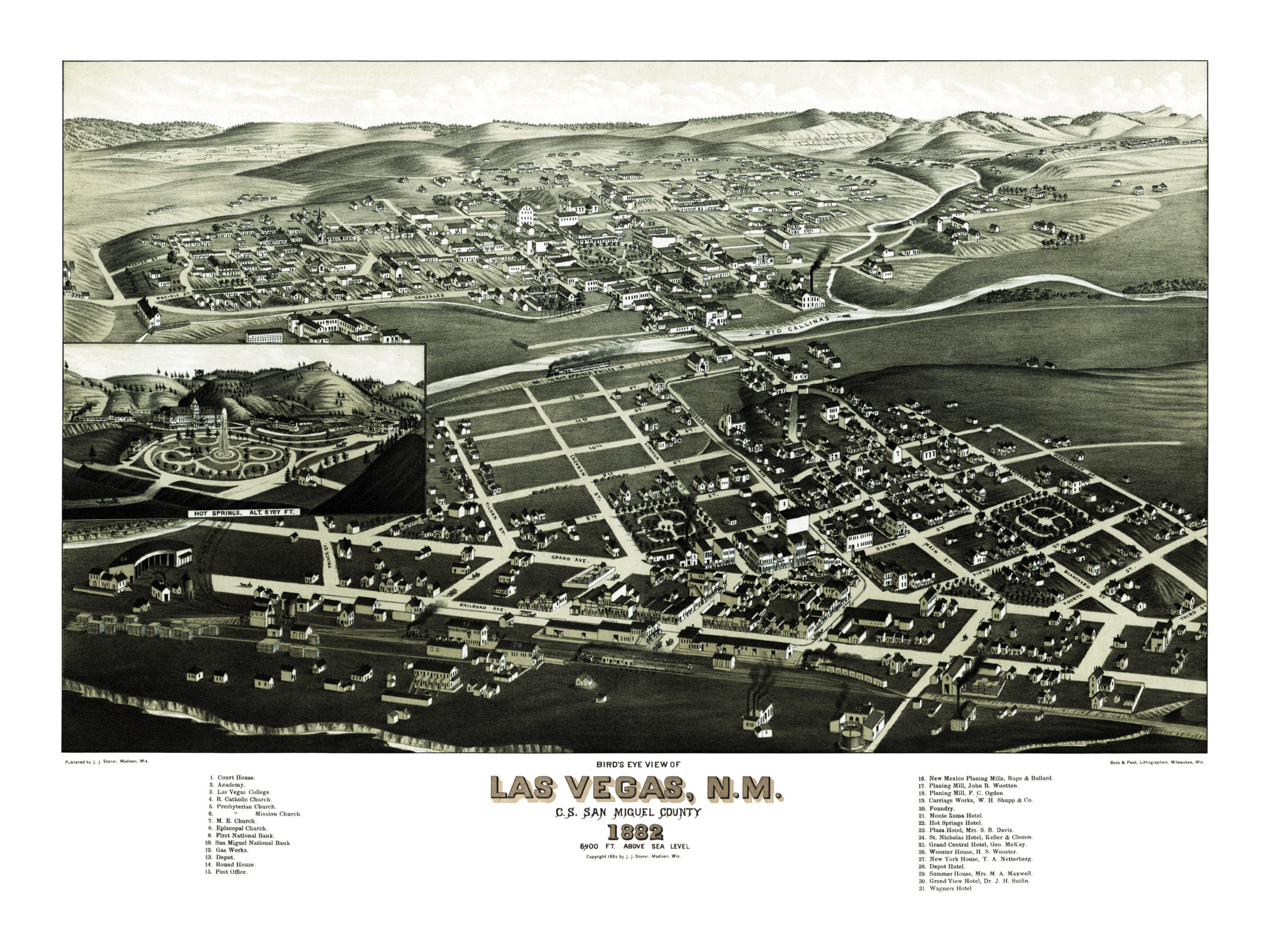 Historic Old Map Of Las Vegas New Mexico From 1882