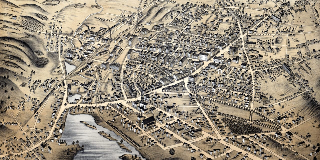Beautifully restored map of Milford, Mass from 1876