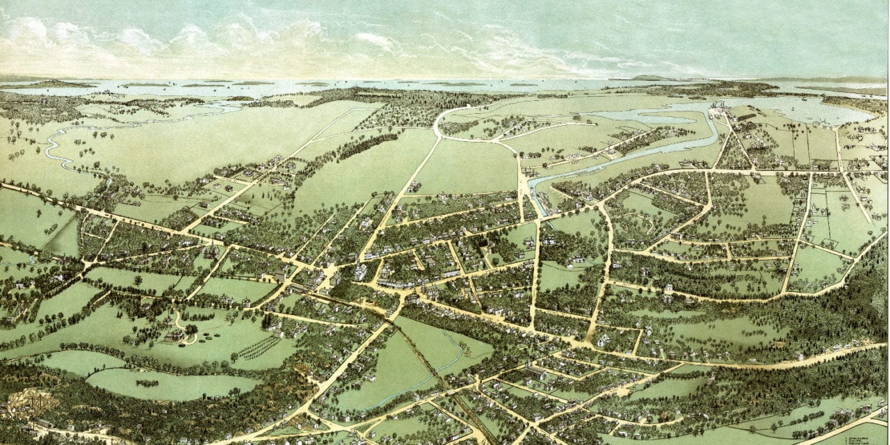 Historic bird's eye view of Quincy, MA from 1877