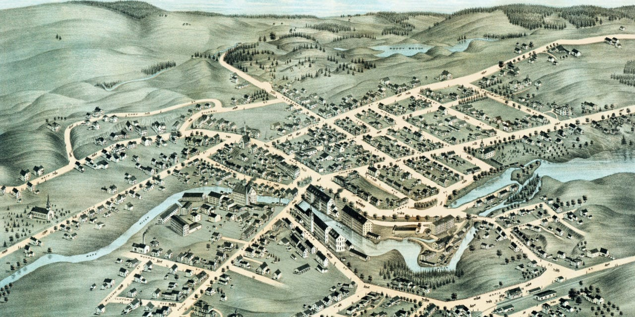 Beautifully restored map of Ware, Massachusetts from 1878