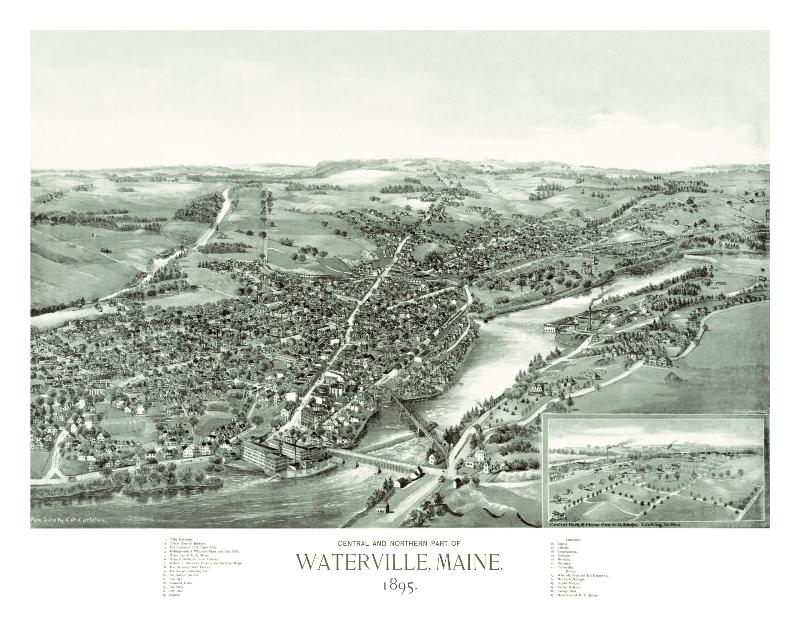Historic Old Map Shows Bird S Eye View Of Waterville Maine In 1895
