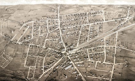 Historic bird's eye view of Westborough, MA in 1880