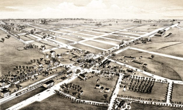 Old map shows bird's eye view of Clayton, Delaware in 1885