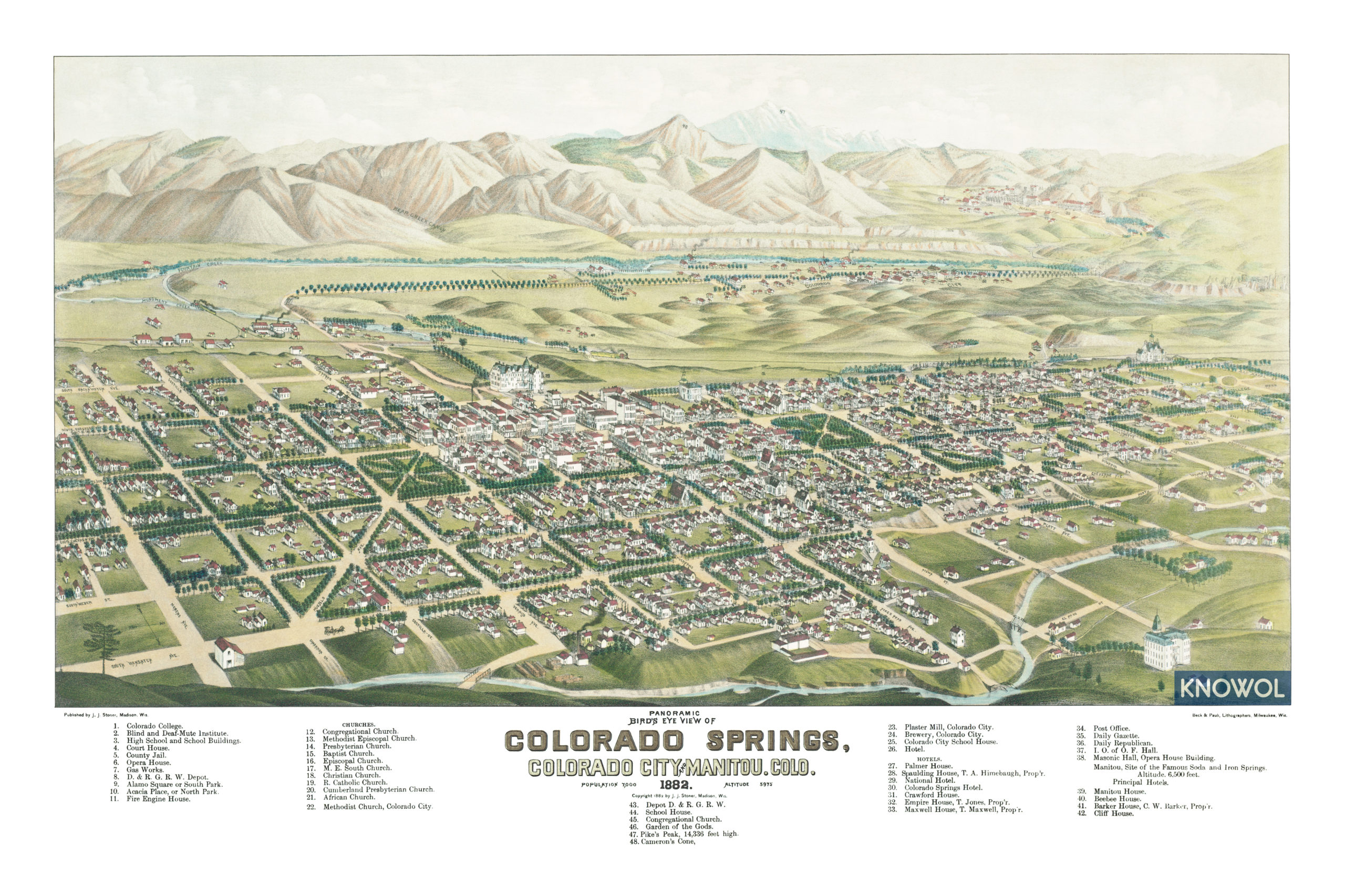 Beautifully Restored Map Of Colorado Springs Co In 1882 Knowol